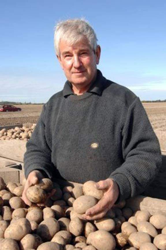Graeme in the potato paddock.